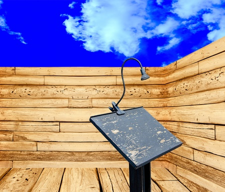 Podium and microphone in perspective view on blue sky background photo