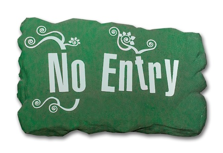 Sign rock of no entry isolated on white background Stock Photo - 21721410