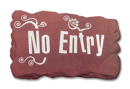 Sign rock of no entry isolated on white background Stock Photo - 21721421