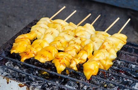 Grilled squid on charcoal oven Stock Photo - 21762031