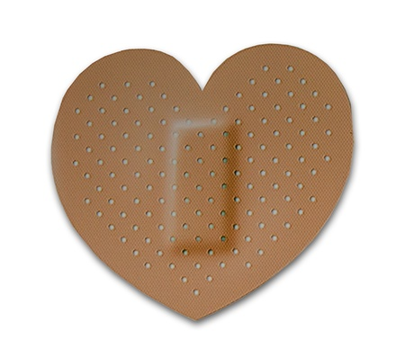 lung transplant: The Bandage of heart isolated on white background