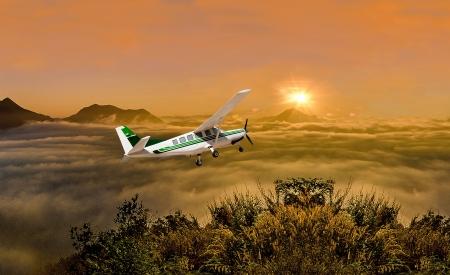 Beautiful airplane on sunrise background