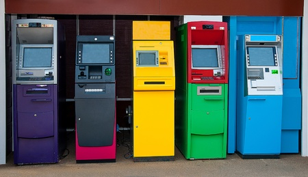Colorful of Automated teller machine Stock Photo