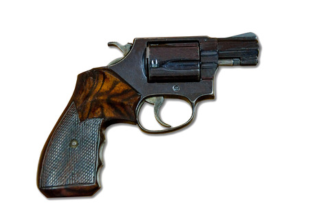.38 Caliber Revolver Pistol Loaded Cylinder Gun isolated on white background photo