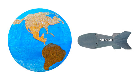 no war: Against missile no war to world isolated on white background