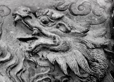 Old steel dragon Incense burner photo