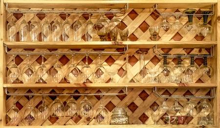 Beautiful wood shelf with glass photo