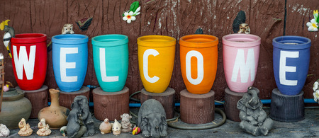 Colorful of welcome text photo
