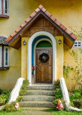 Old door of classic home in europe photo