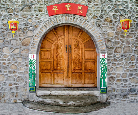 Old wooden door of chinese style photo
