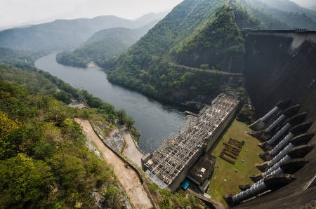 thai dam: Electric power plant, bhumibol dam in Tak province, Thailand Stock Photo