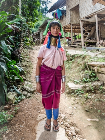 MAE HONG SON, THAILAND - NOVEMBER 21: Unidentified Karen tribal woman near Mae Hong Son, Thailand, The Karen Long Neck hill tribe village, november 21 2013. Famous tourist destination