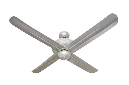 Three blades Ceiling fan isolated in a studio includes clipping path photo
