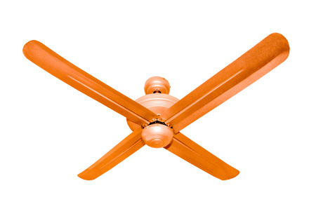 Three blades Ceiling fan isolated in a studio  photo