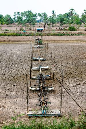 paddle wheel: Aerator turbine wheel fill oxygen into shrimp pond Stock Photo