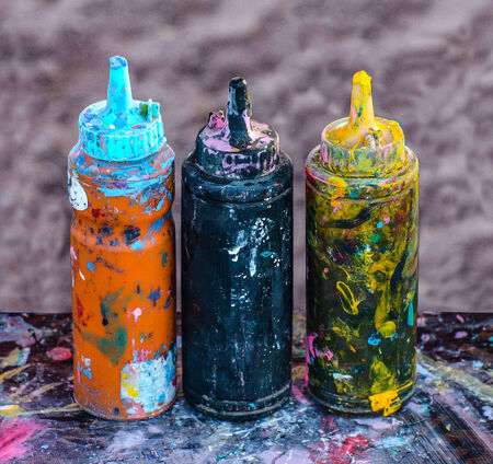 Colorful ink in plastic  bottles photo