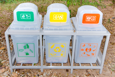 Recycle bins in park photo