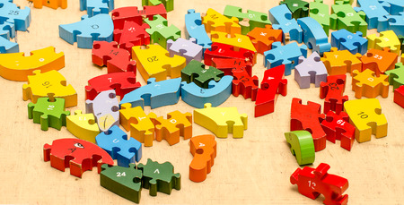 Colourful of wooden jigsaw photo