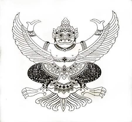 himmapan: Pattern Line of garuda on white background Stock Photo