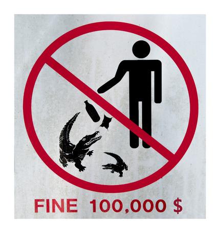 Crocodile no feeding sign photo
