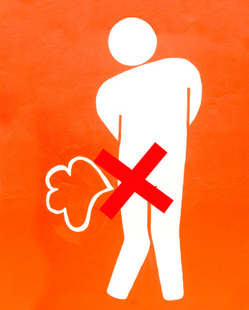 obscene: Sign of no fart on wall