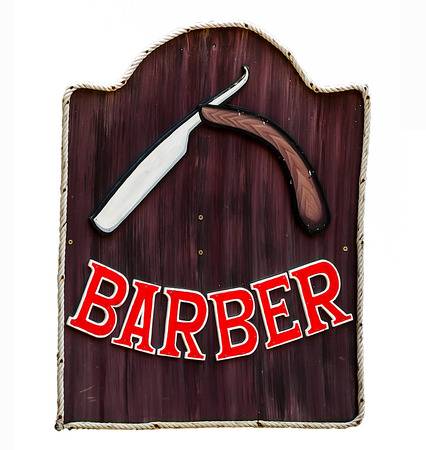 Sign of barber shop isolated on white background photo
