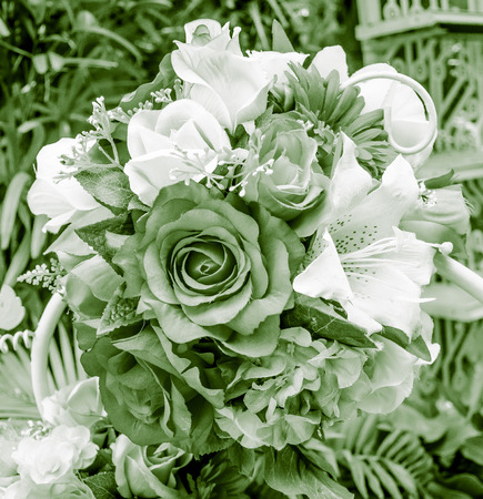 Artificial bouquet of black and white beautiful flower photo