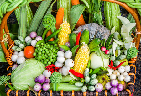 Coolorful of vegetables in bamboo basket photo