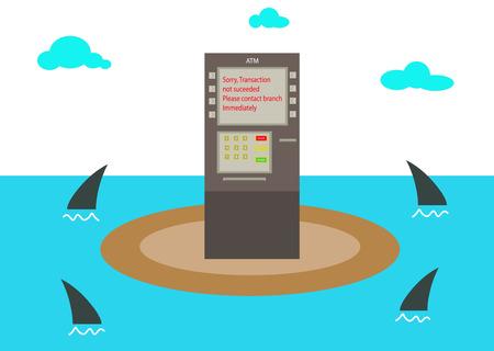 ATM on island Vector illustration illustration