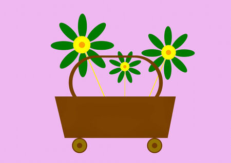 Flowers on basket  vector illustration illustration