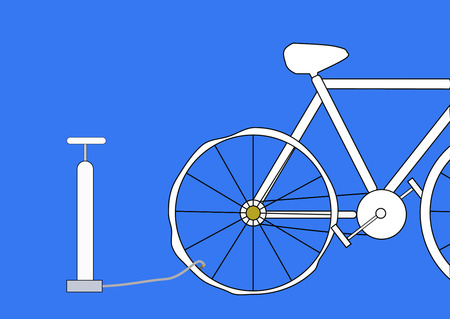 inflate: Bicycle pump with Inflating Bicycles Tyre. Vector Illustration