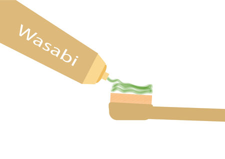 wasabi: Toothbrush with wasabi paste.Vector illustration
