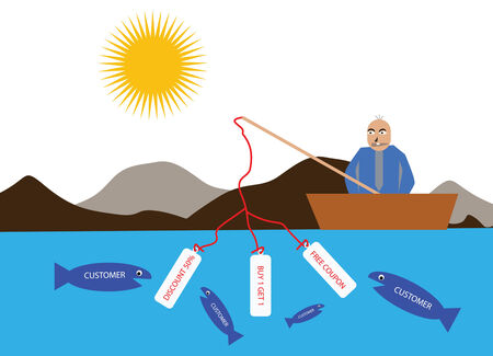 easy money: Vector illustration of a businessman fishing customer