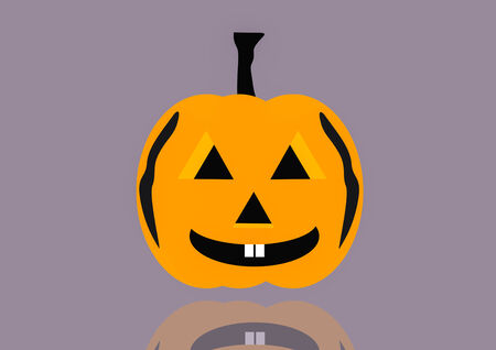 lesion: Vector Illustration of  halloween pumpkin face on reflect background Stock Photo