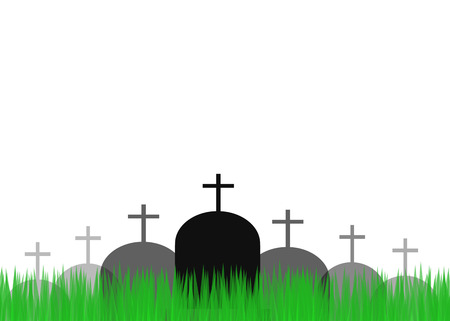 greengrass: Grave with tombstone and greengrass. Vector illustration Stock Photo