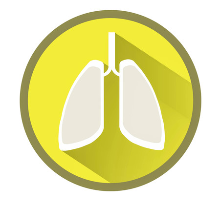pulmonology: Lungs flat icon with long shadow vector illustration