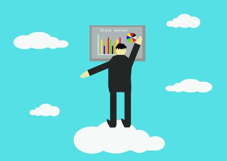 stock vista: Businessman on white cloud. Vector illustration