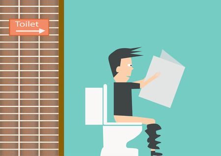 Businessman reading newspaper in restroom.Vector illustration illustration