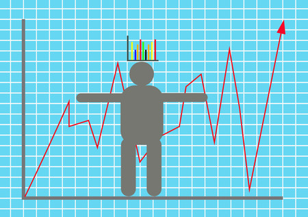 Vector illustration display stock market goes up and down with model businessman illustration