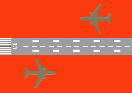 13: Airplane and Number 13 of runway vector illustration Stock Photo