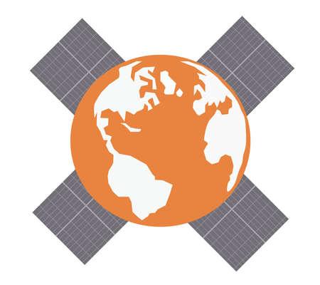 Earth with solar panels.Vector illustration illustration