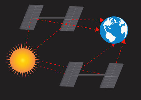 Earth and sun with solar panels.Vector illustration illustration