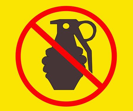 grenade: Sign no grenade vector illustration