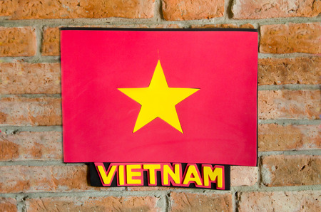 Sighburi,Thailand - OCT 19: Symbol Vietnam National Flag on Wall in Robot museum on October 19,2014 in Sighburi province,Thailand