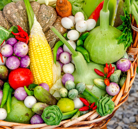 Colorful of vegetables in bamboo basket photo