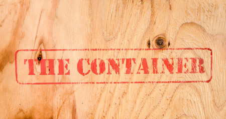 ibs: Stamp THE CONTAINER on wood background