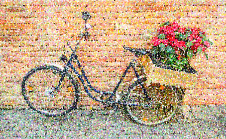 conjoined: Parti-colored pointillized of bicycle Stock Photo