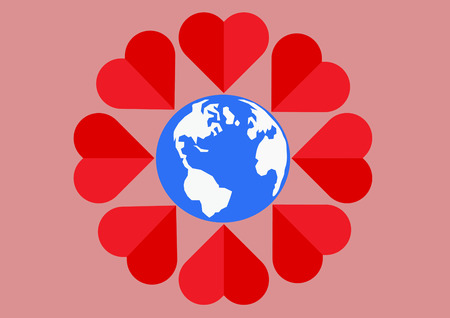 pinky: Red heart around the world mean of love all people.Vector illustration