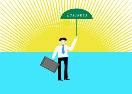 possibility: Businessman with green umbrella business.Vector illustration Stock Photo