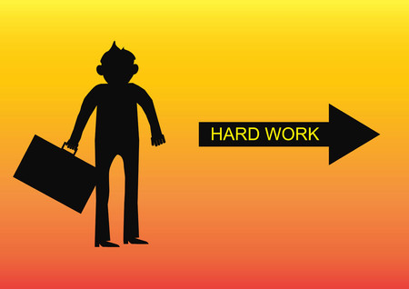 vexation: Businessman character silhouette of Think to hard work arrow.Vector illustration Stock Photo